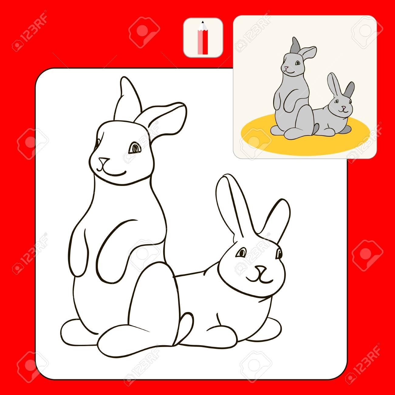 Libro De Colorear Colorear Páginas Del Libro Con La Ilustración De Dibujos Animados Niños Para Colorear Con Conejos Grises La Triste Natación
