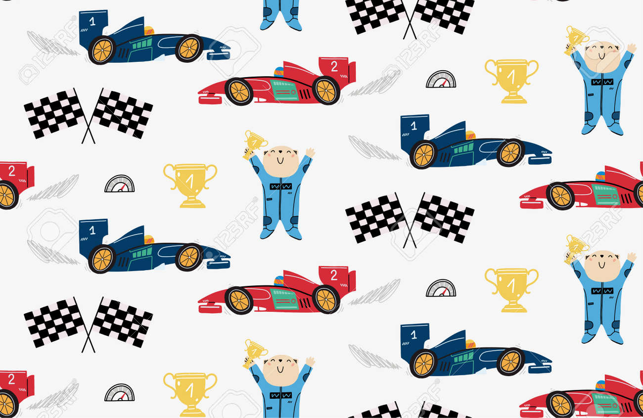 Seamless pattern with a cute bear racer, race cars, winner cup, speedometer, formula flags. Childrens illustration for cover, wallpaper, kids design. - 157230392