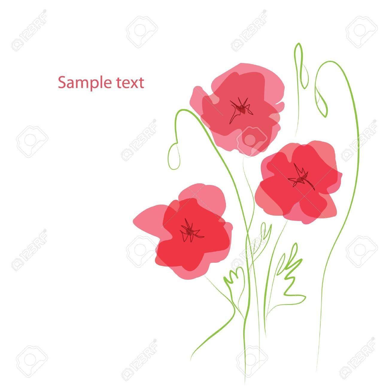 Arriere Plan De Fleur Romantique Avec Coquelicots Clip Art Libres De