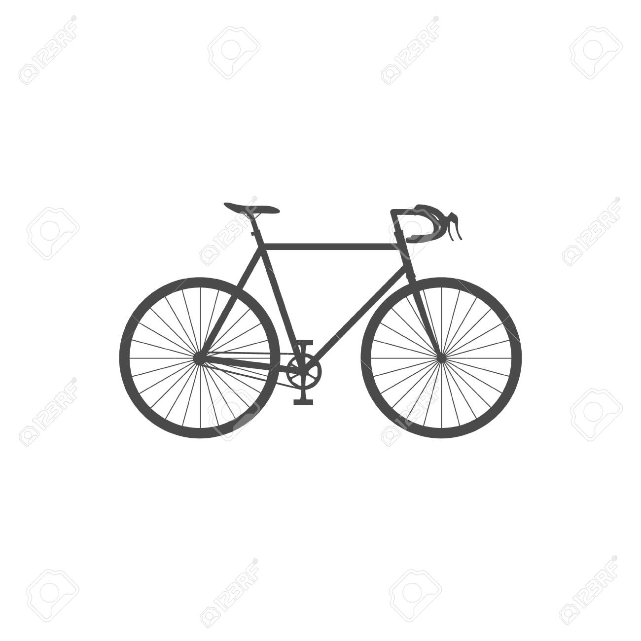 Road bike isolated simple icon on white background. Flat vector illustration. - 143025515