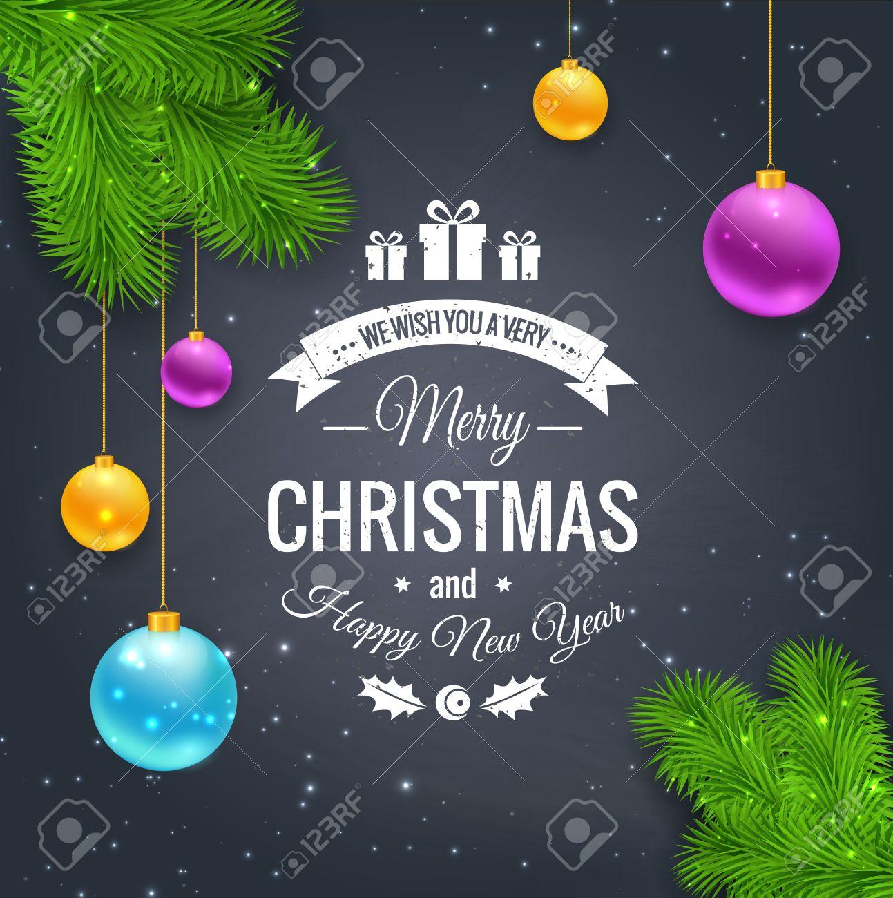 Merry Christmas Greetings Logo On Chalkboard Chrictmas Design