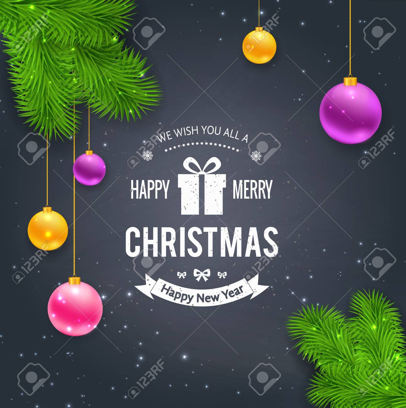 Merry Christmas Greetings On Chalkboard Royalty Free Cliparts