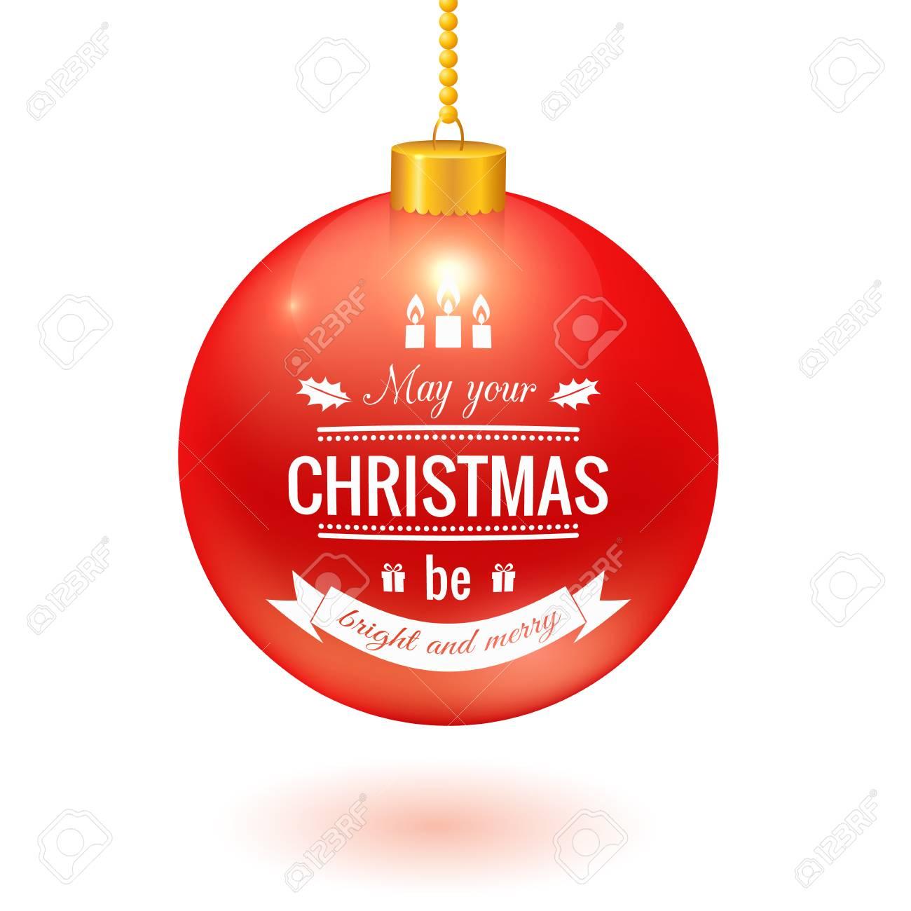 Boule De Noël Avec Le Logo Suspendu à Une Chaîne Isolé Sur Blanc