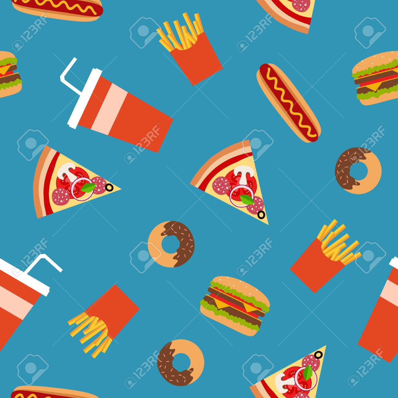 Fast food flat style seamless pattern. Vector background for your design. - 49724153