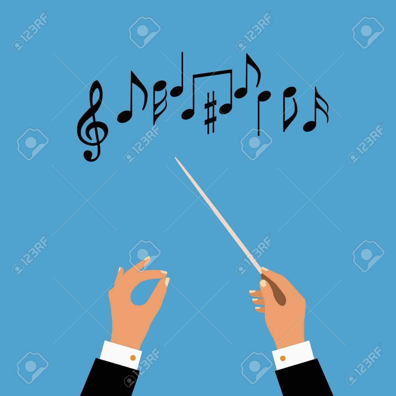 Standard Bild   Wohnung Konzept Der Musik Orchester Oder Chor Dirigent.  Vektor Illustration Für Musikalische Gestaltung