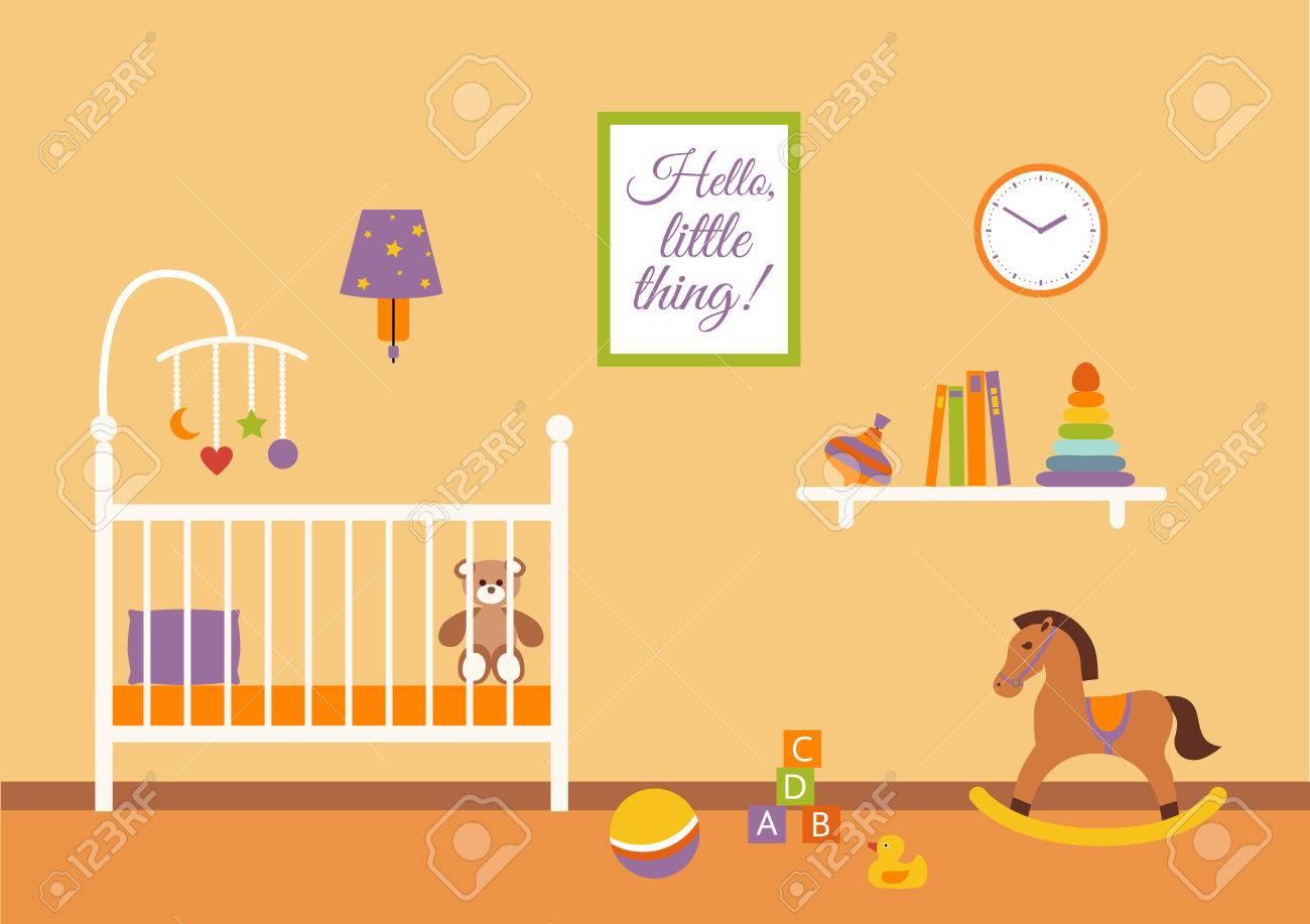 Vector Del Interior Del Cuarto Del Bebé. Vivero De La Habitación Del ...