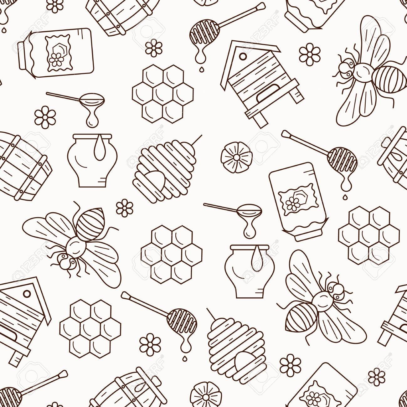 Honey Seamless Pattern Illustration Vector Symbols Bee House