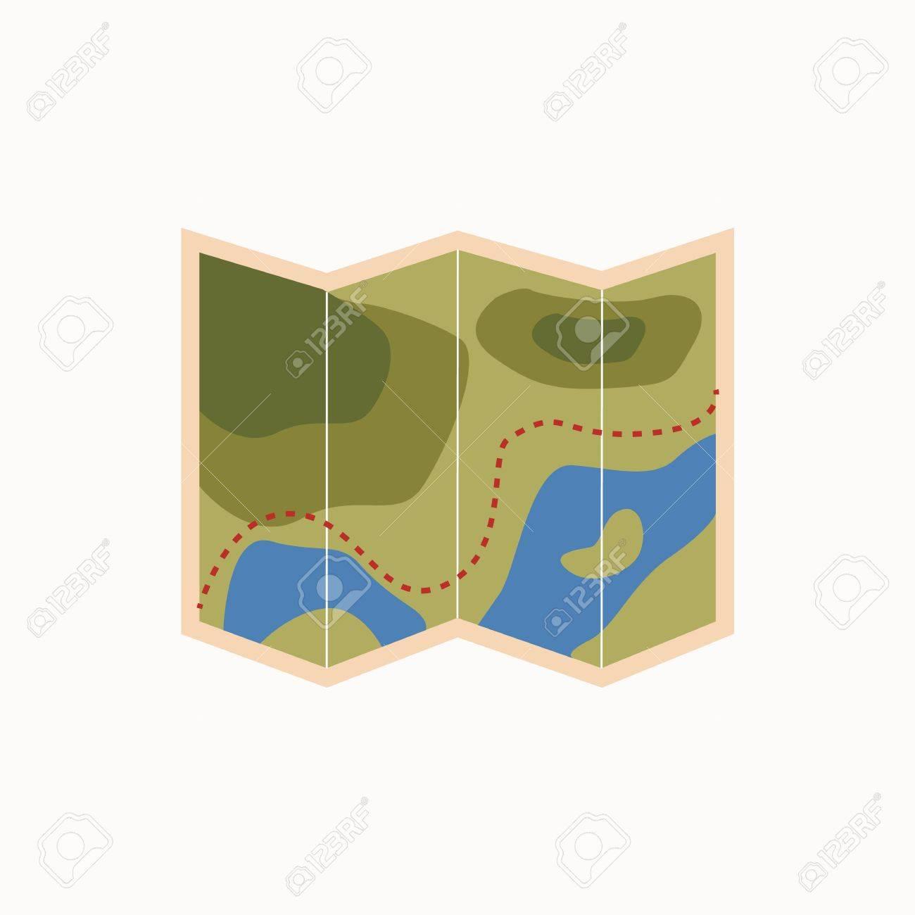 Icono De Mapa De Camping Vector De Icono De Mapa De Turismo