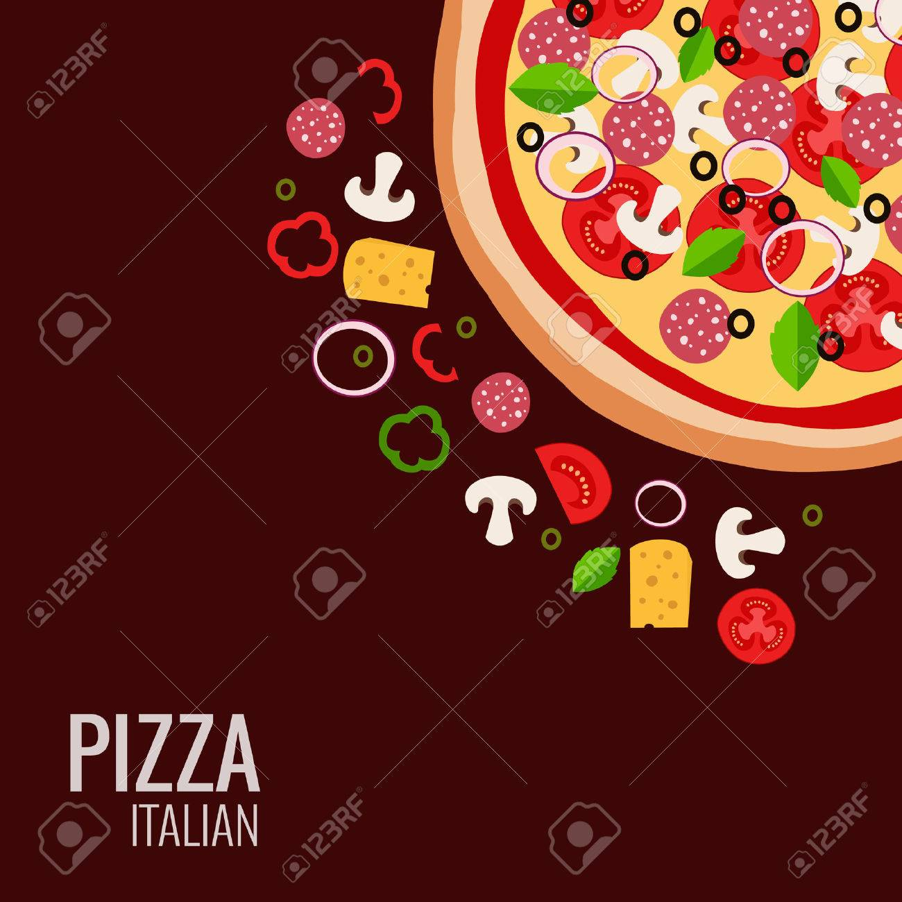 Pizza Icon Background Flat Design Illustration Of Ingredient For Menu