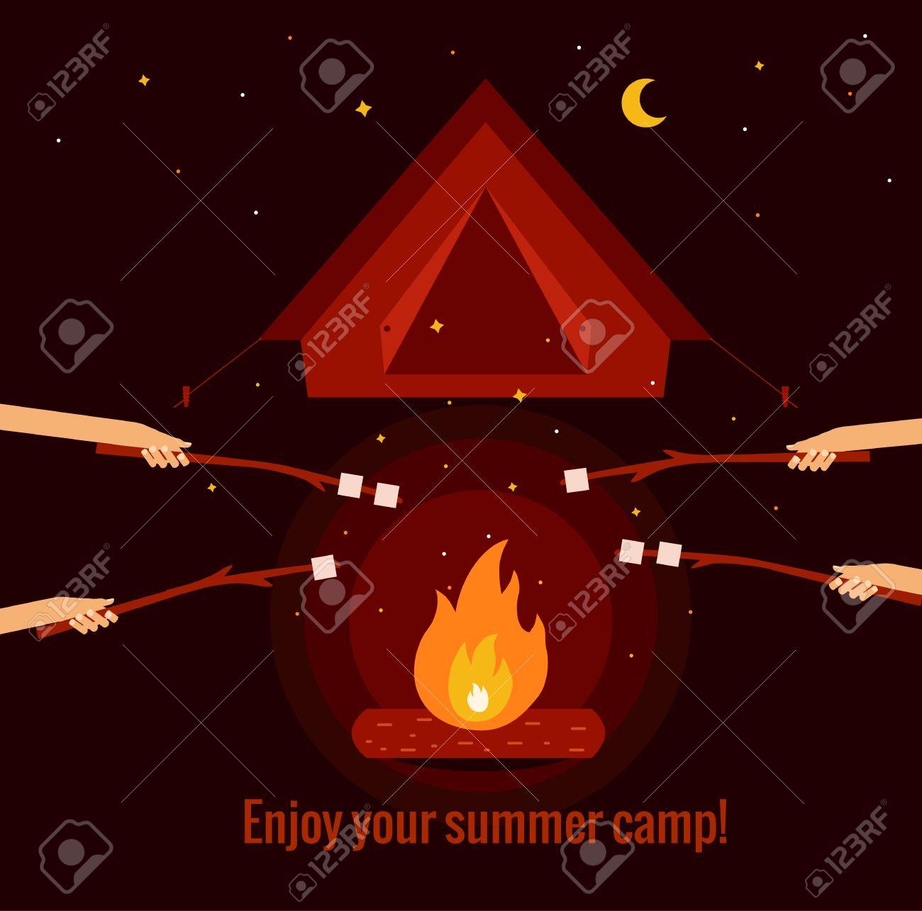 キャンプ火災の背景フラット イラスト。キャンプ火災の背景ベクトルの