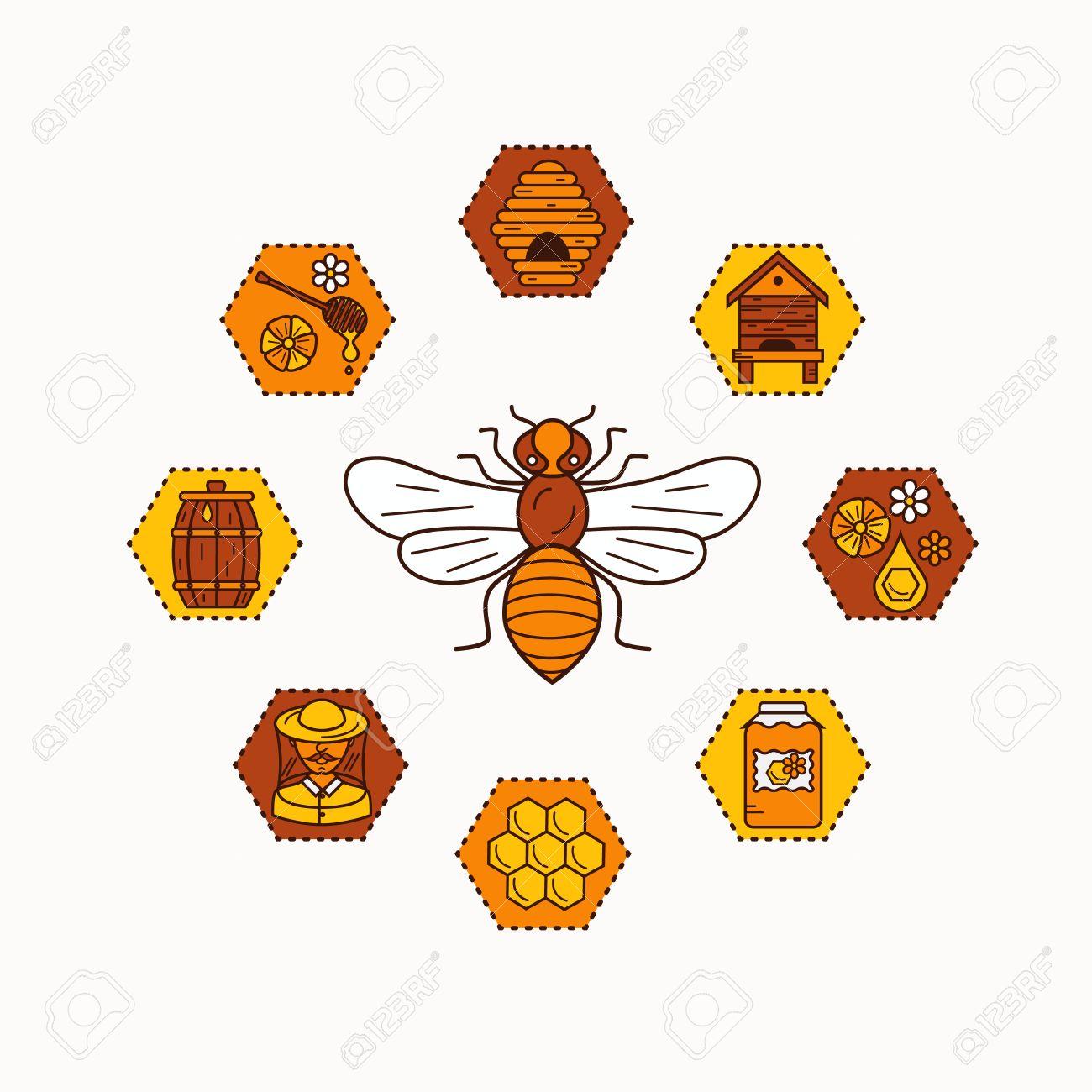 Beekeeping Product Icon Set Vector Symbols Bee Honey House