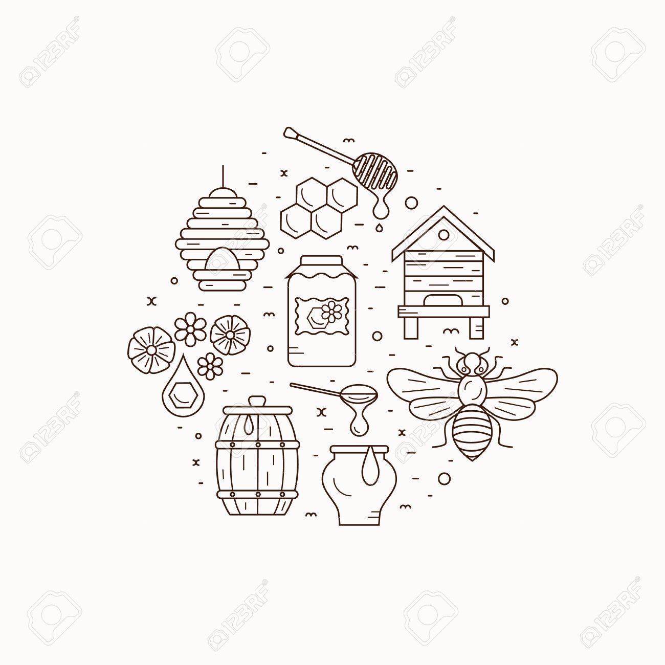Honey Bee House Illustration Vector Symbol