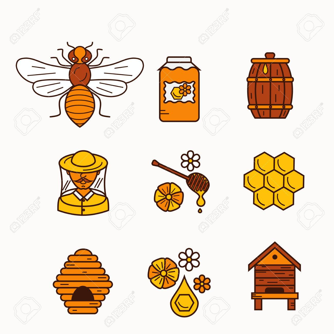 Vector Illustration Beekeeping In Outline Style Beehive Icon
