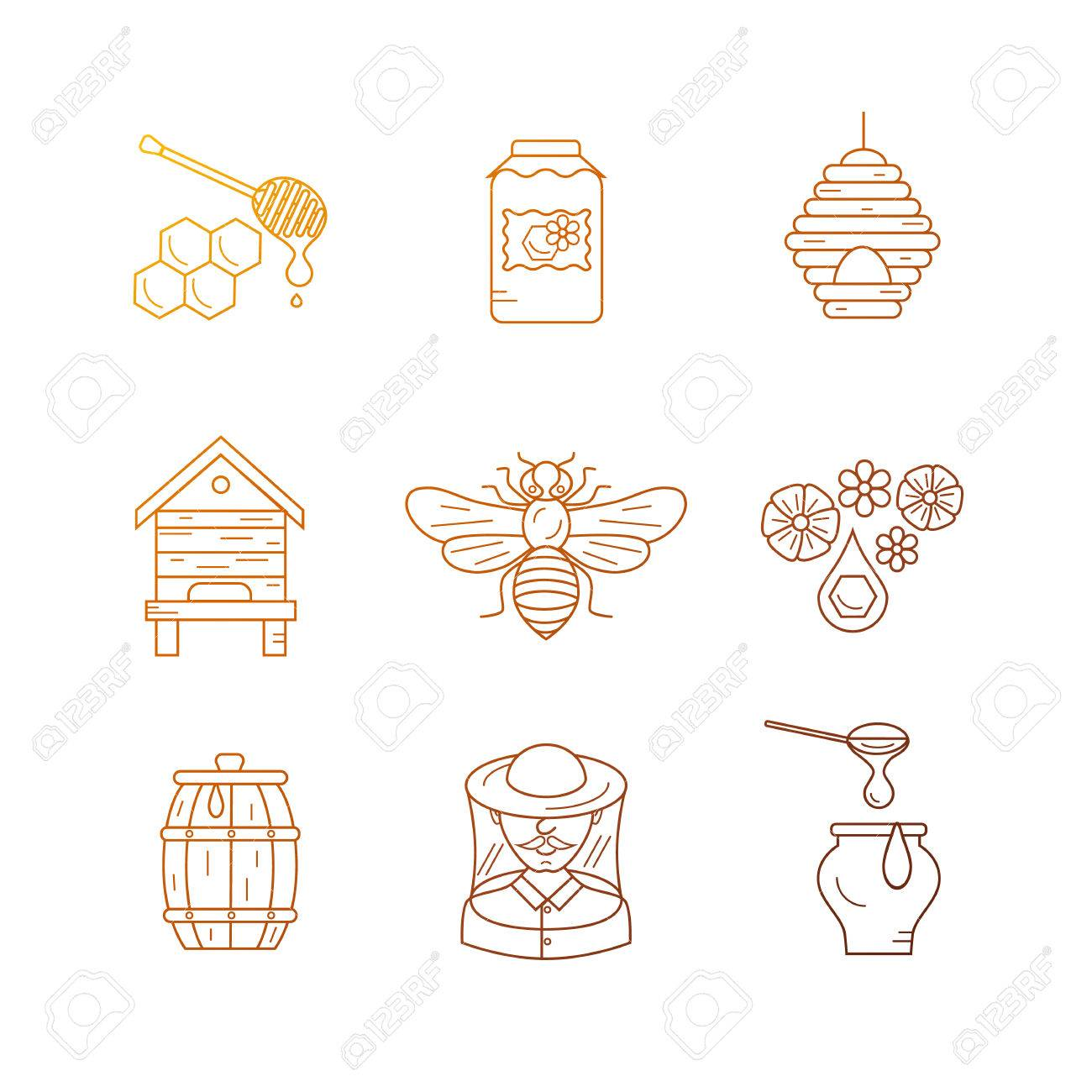 Apiary Flat Illustration Apiarist Vector Symbols Bee Honey House Beekeeper