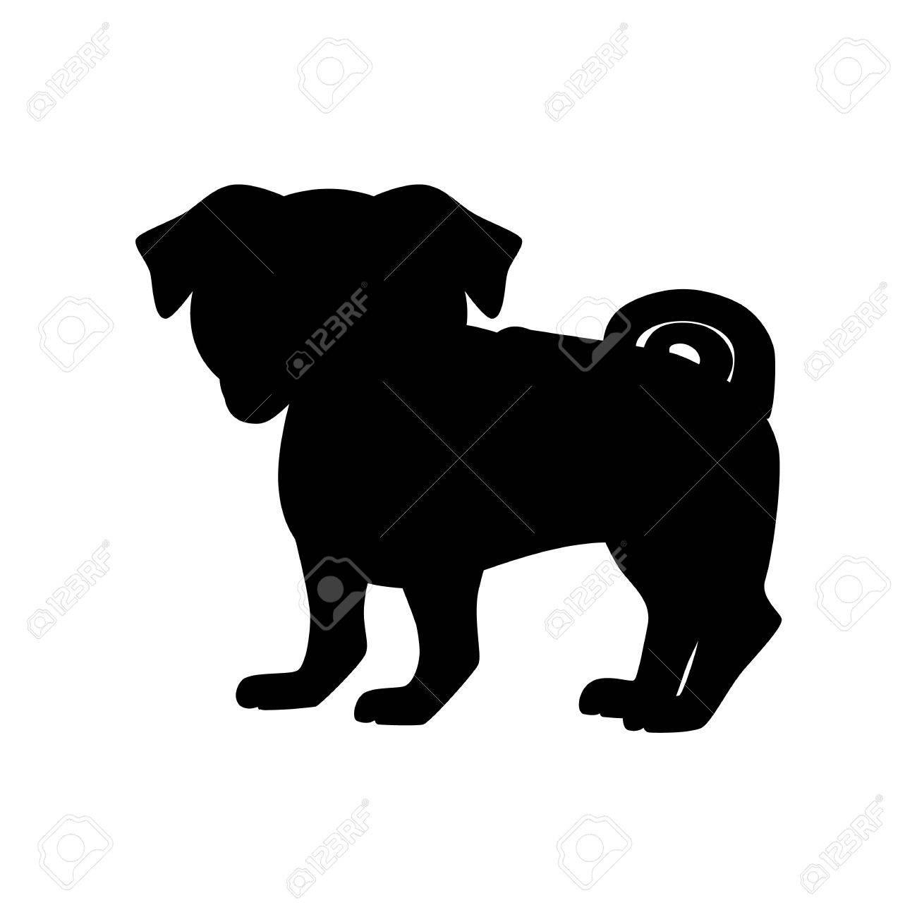 フラット パグ ペット イラストかわいい犬のベクトルを立っています