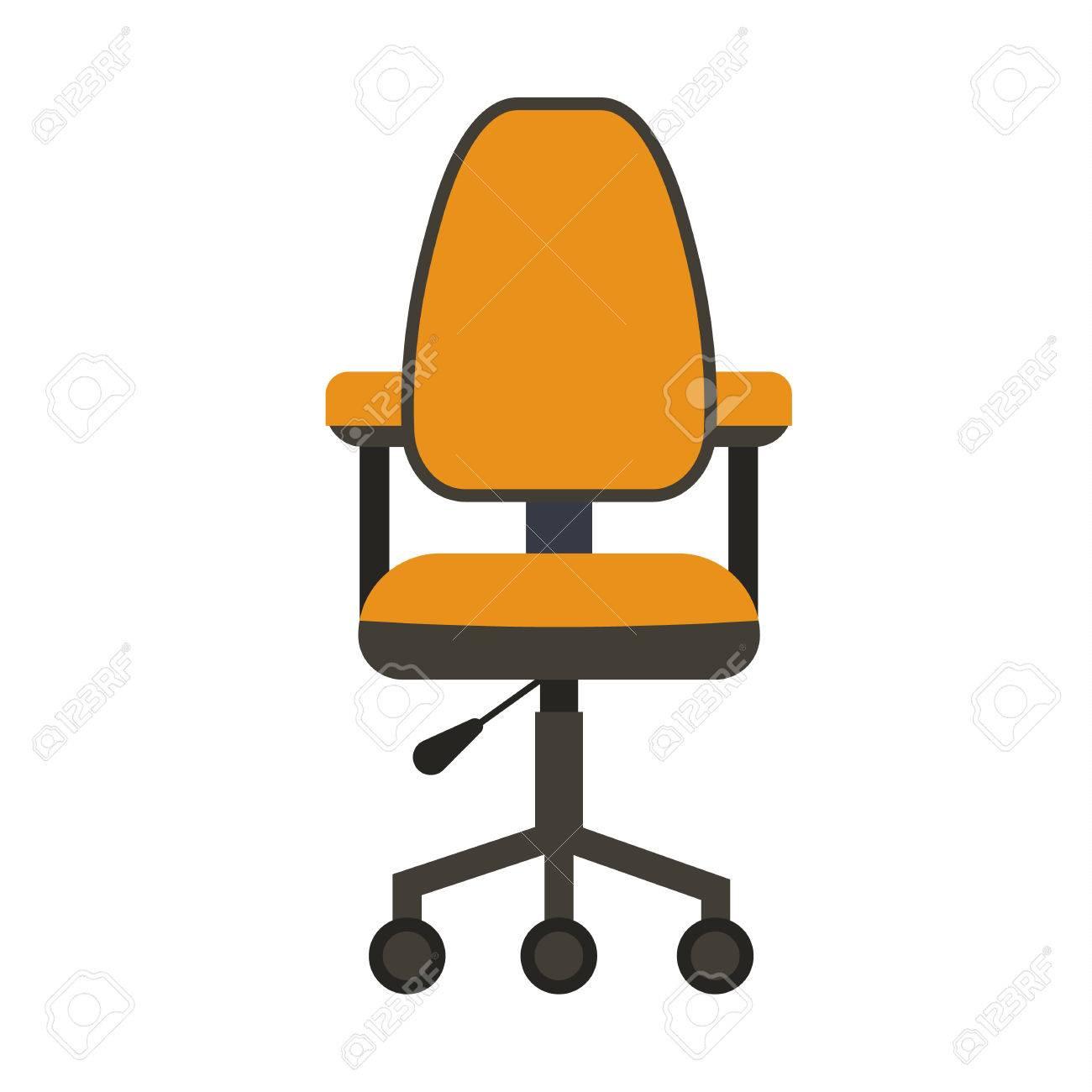 Bande BureauColorful De Icône Dessinée Chaise Bureau PlatVector IllustrationConcept by67Yfgv