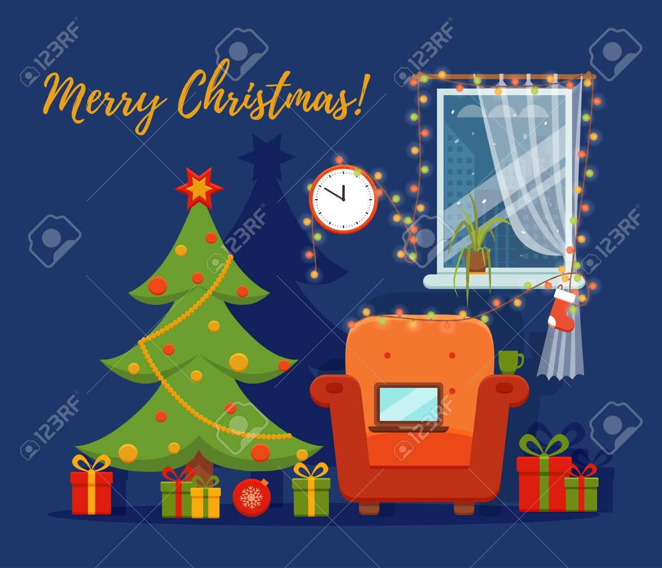 e24ed72c8b65d Sala De Interior De Navidad En El Estilo De Dibujos Animados De Colores  Planos. Árbol De Navidad