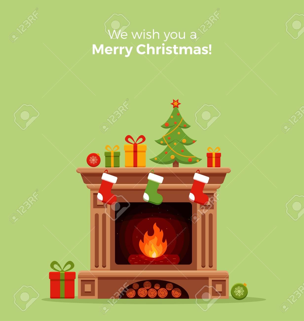 Dibujos Chimeneas De Navidad.Navidad Sala De La Chimenea Interior En El Estilo De Dibujos Animados De Colores Planos Arbol De Navidad Regalos Decoracion Chimenea Noche De