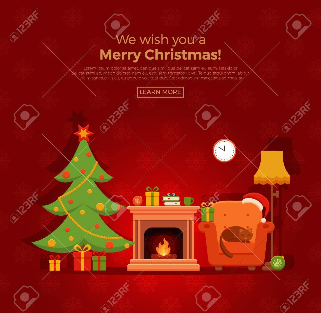 Dibujos Chimeneas De Navidad.Navidad Sala De La Chimenea Interior En El Estilo De Dibujos Animados De Colores Planos Arbol De Navidad Regalos Decoracion Sillon Chimenea El
