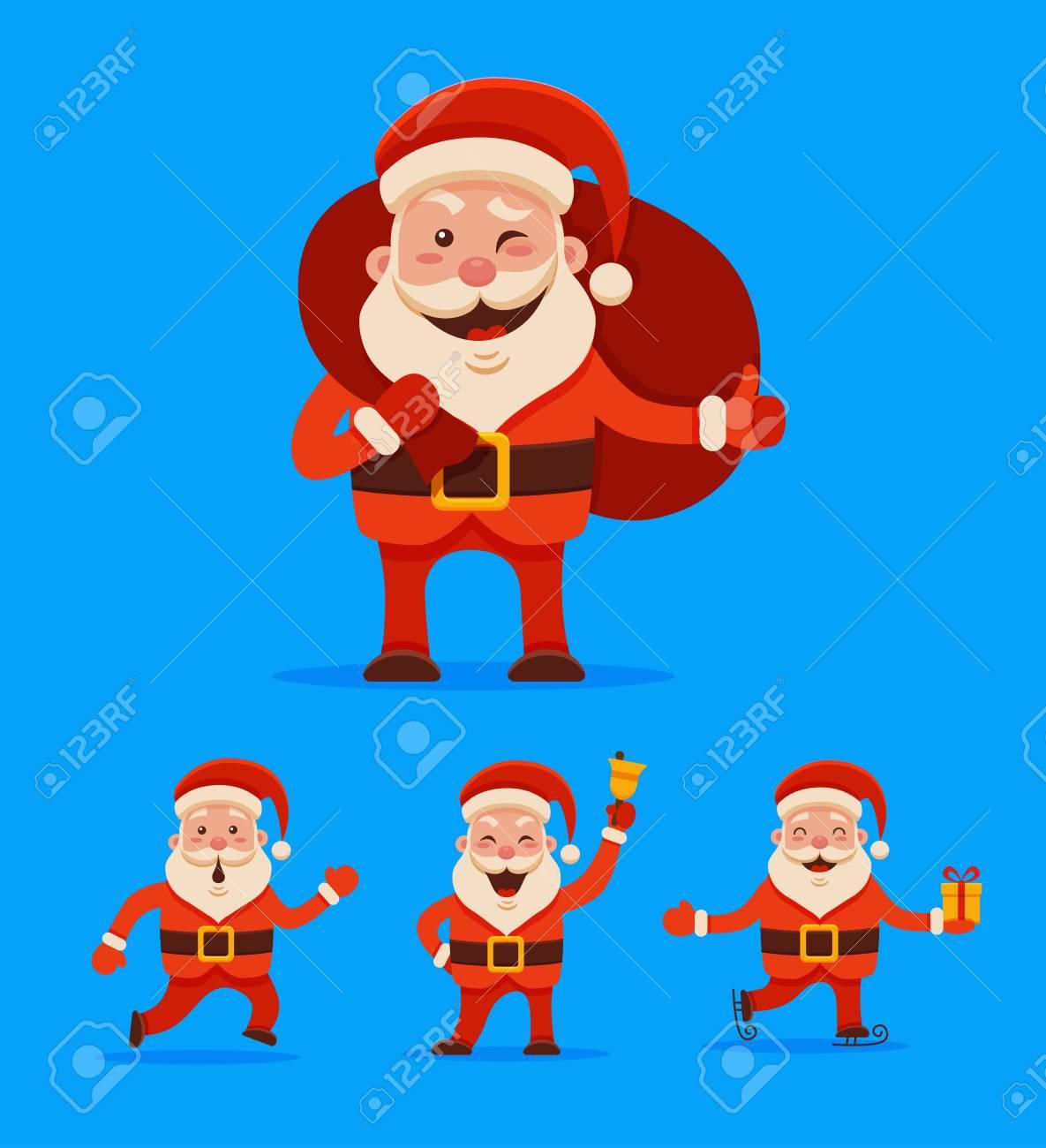 Cartoon Santa Claus Set Für Ihr Weihnachts-und Neujahrsgrüße Design ...