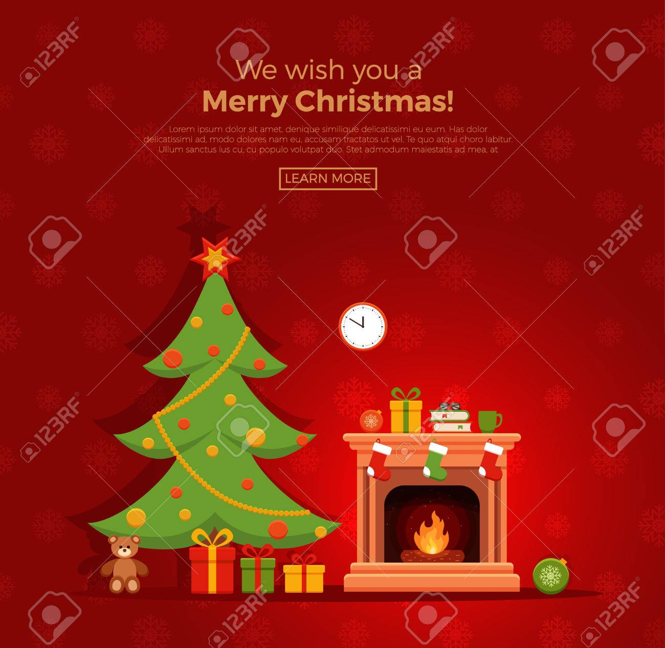 Christmas fireplace room interior in colorful cartoon flat style