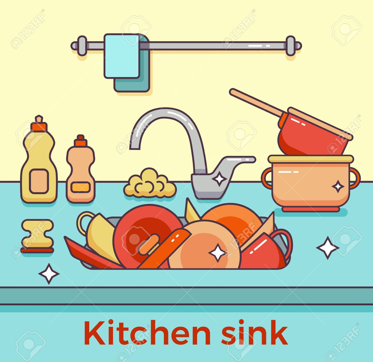 Kitchen Sink With Clean Dishes kitchen sink with kitchenware, dishes, utensil, towel, wash sponge
