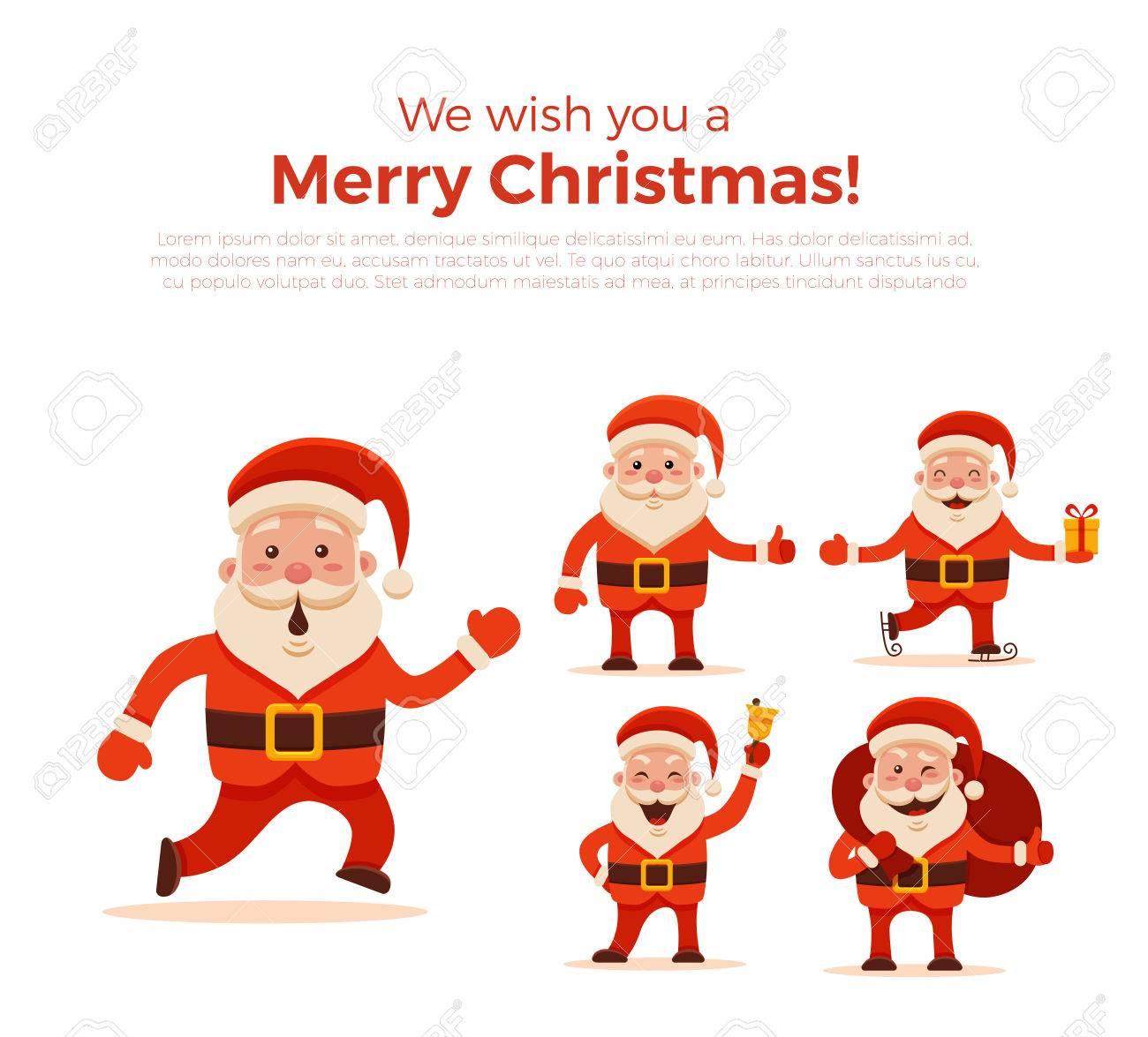 Desenhos Animados Santa Claus Set Para O Seu Natal E Ano Novo