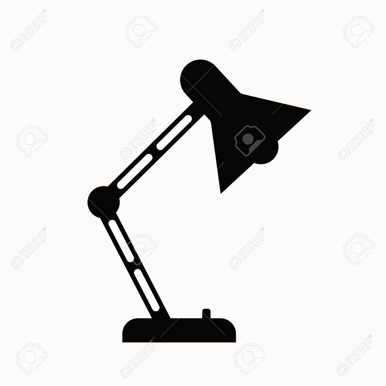 lamp office. Office Lamp Flat Icon. Vector Table Illustration. Concept Of Desk T