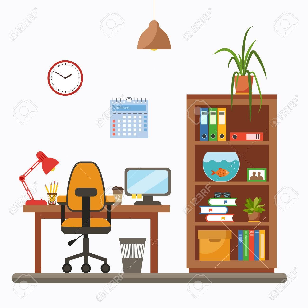 Vector Bunte Büroschreibtisch Mit Zimmerpflanzen. Die Arbeiten Der ...