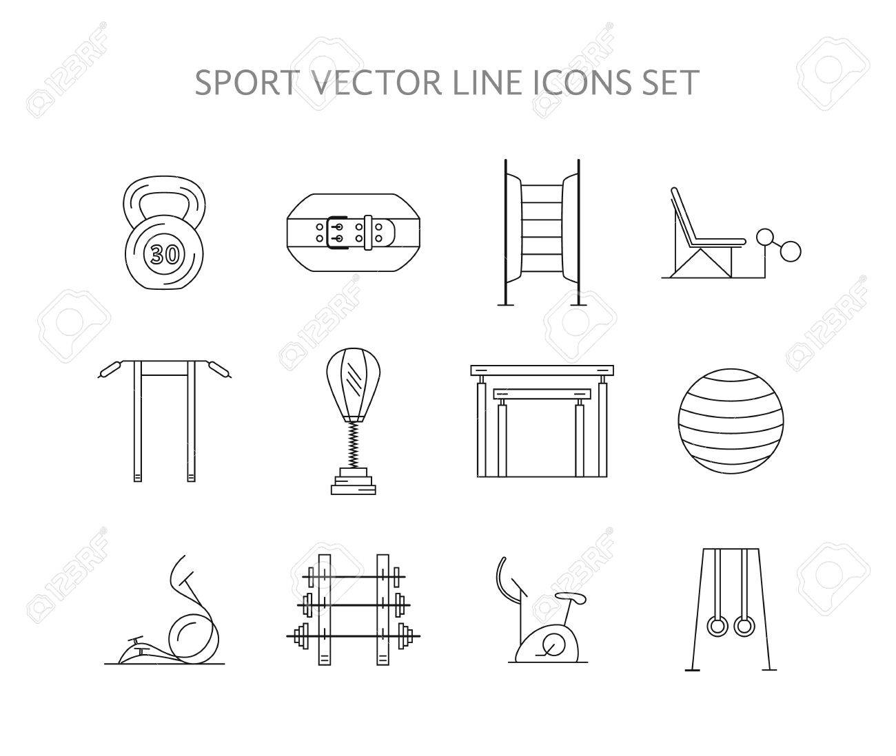 Workout And Gym Training Icons Set Vector Bodybuilding Gymnastics