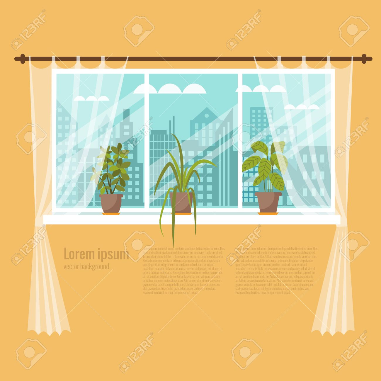 Colorful Flat Style Illustration Of Window With Curtains And ... for Window With Curtains Illustration  111ane