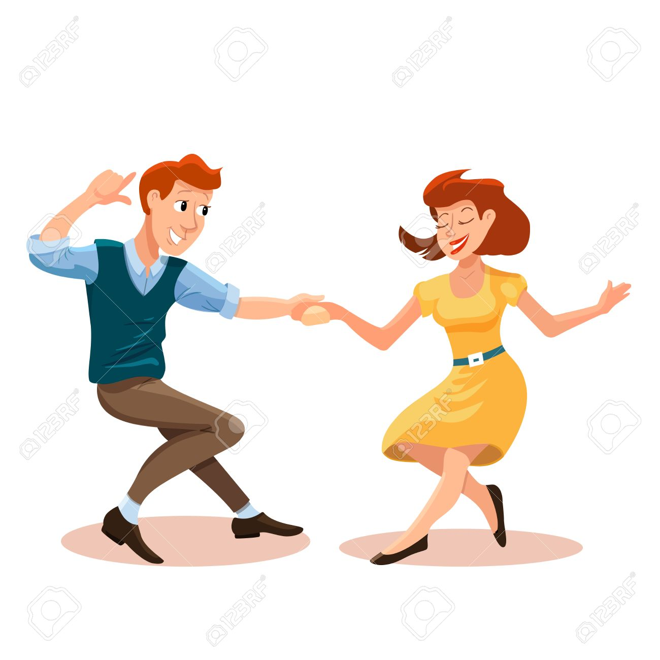 Vector Illustration Of Dancing Men And Woman In Cartoon Flat Royalty Free Cliparts Vectors And Stock Illustration Image 67896900
