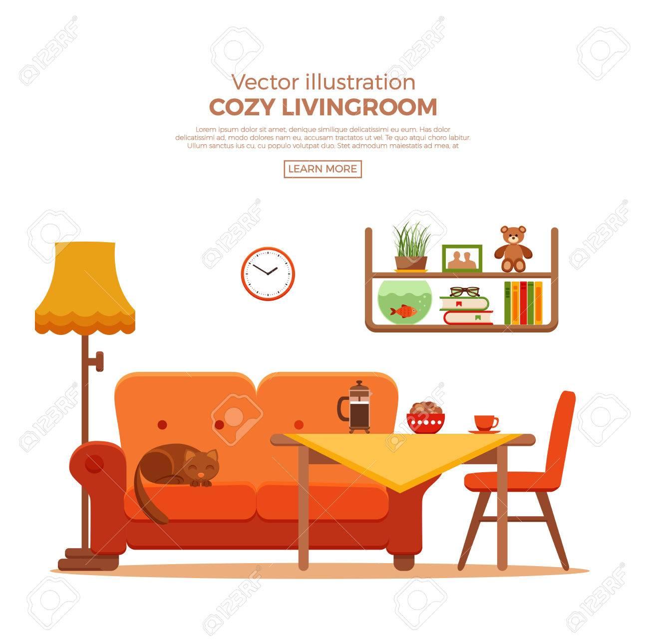 Living Room Cozy Colorful Cartoon Interior. Vector Flat Illustration ...