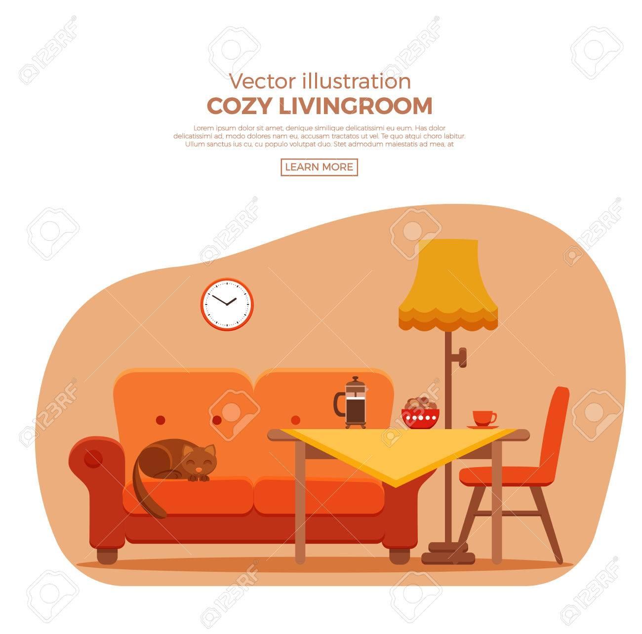 Wohnzimmer Gemutlich Bunte Comic Interieur Vector Flach