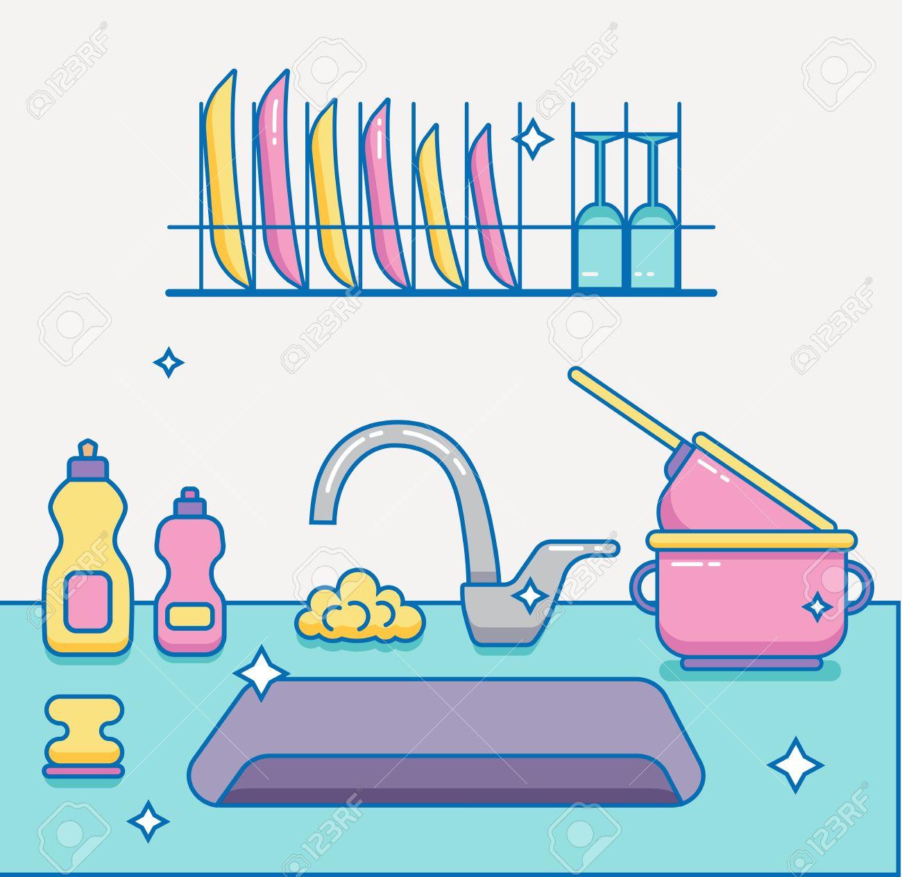 Kitchen Sink With Kitchenware, Dishes, Utensil, Towel, Wash Sponge ...