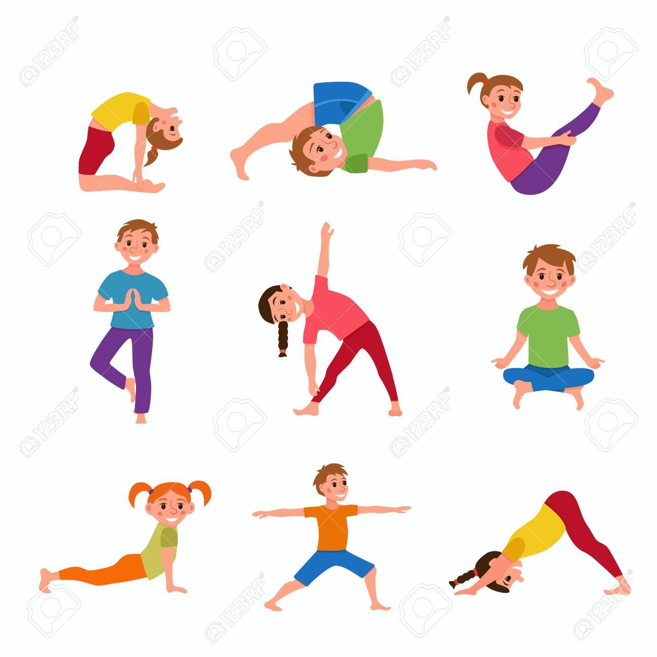 Las Posturas De Yoga Para Ninos Ilustraciones Vectoriales Clip Art Vectorizado Libre De Derechos Image 69255069