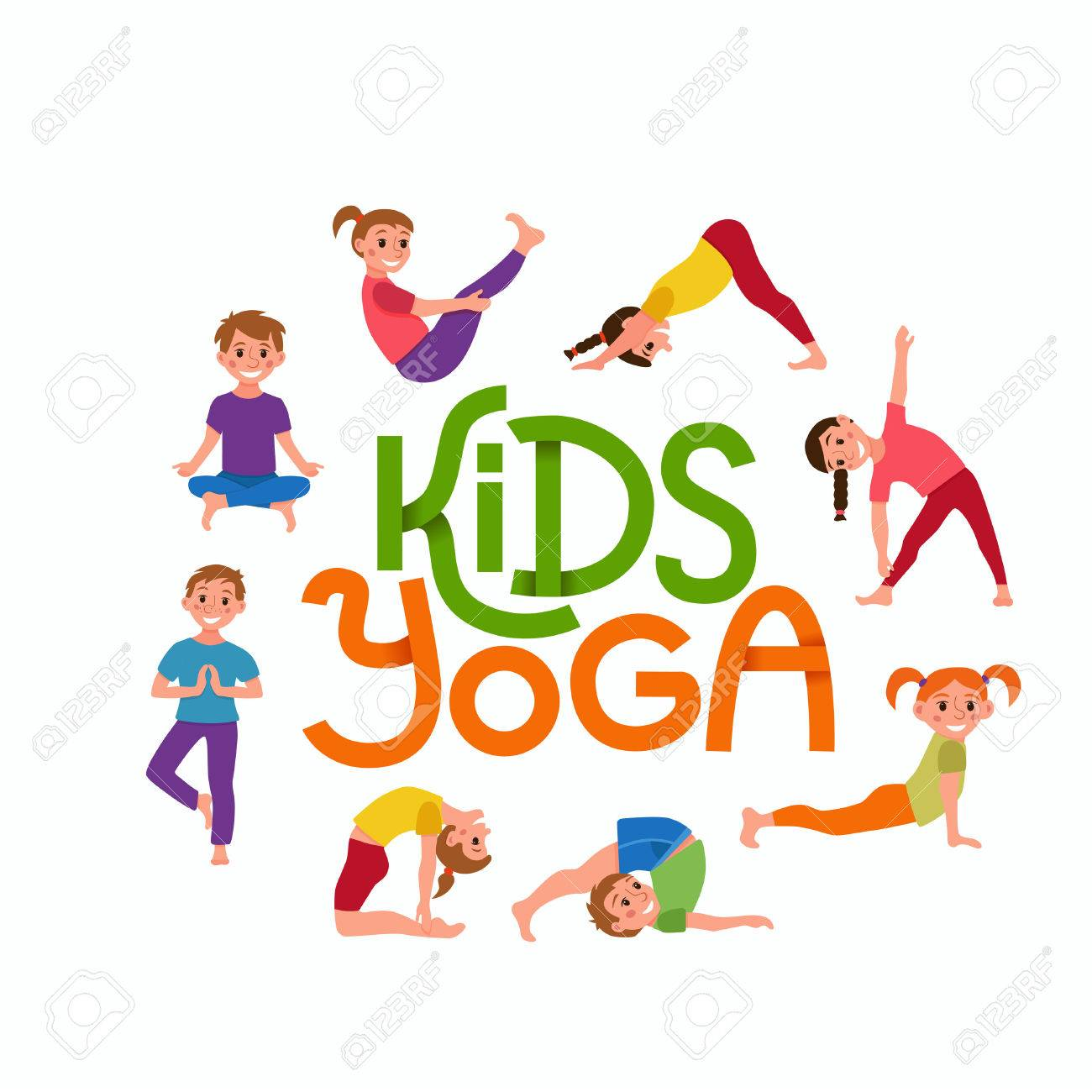 Yoga Kids Poses Set Cute Cartoon Gymnastics For Children And Royalty Free Cliparts Vectors And Stock Illustration Image 70793790