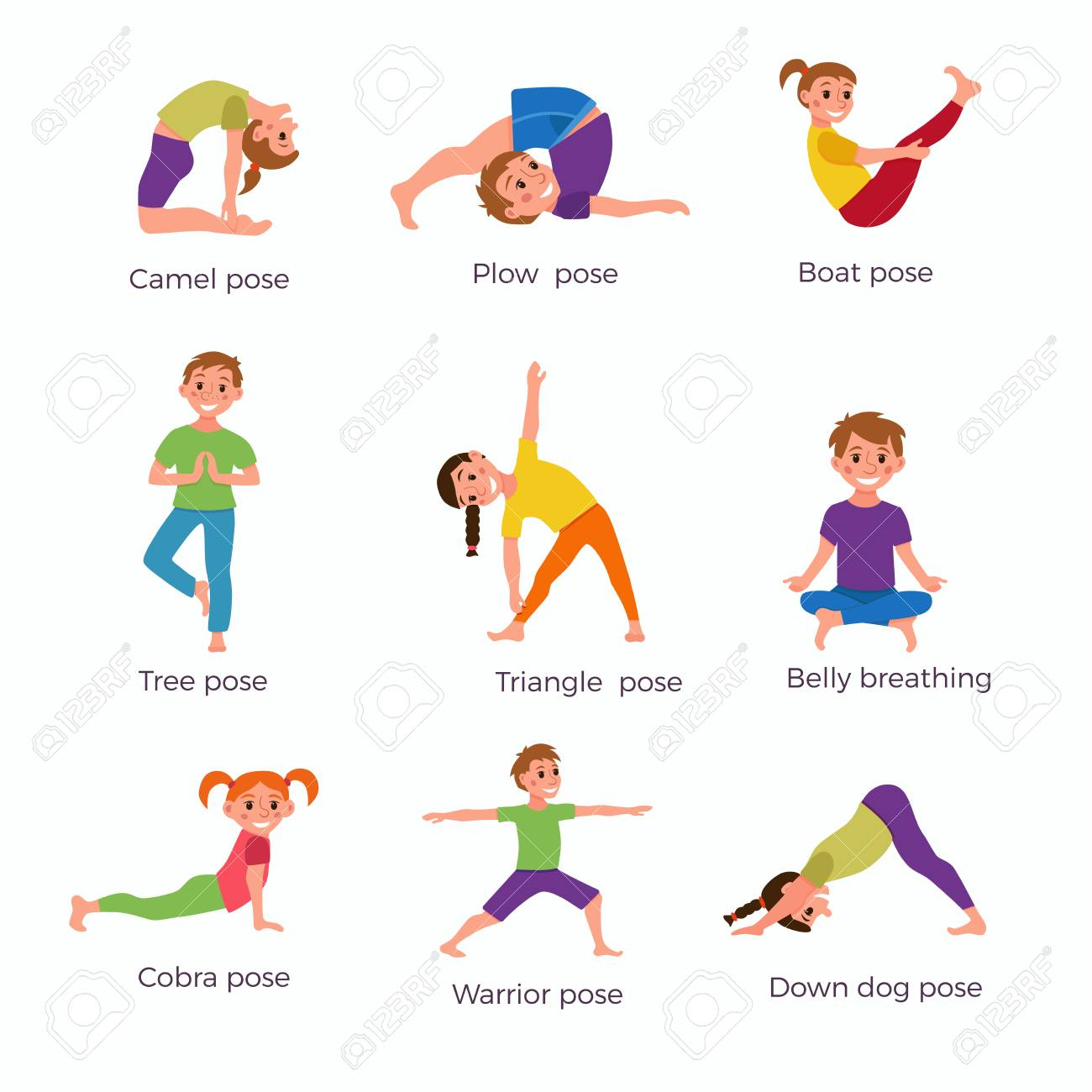 Yoga Kids Poses Set Royalty Free Cliparts Vectors And Stock Illustration Image 83529610