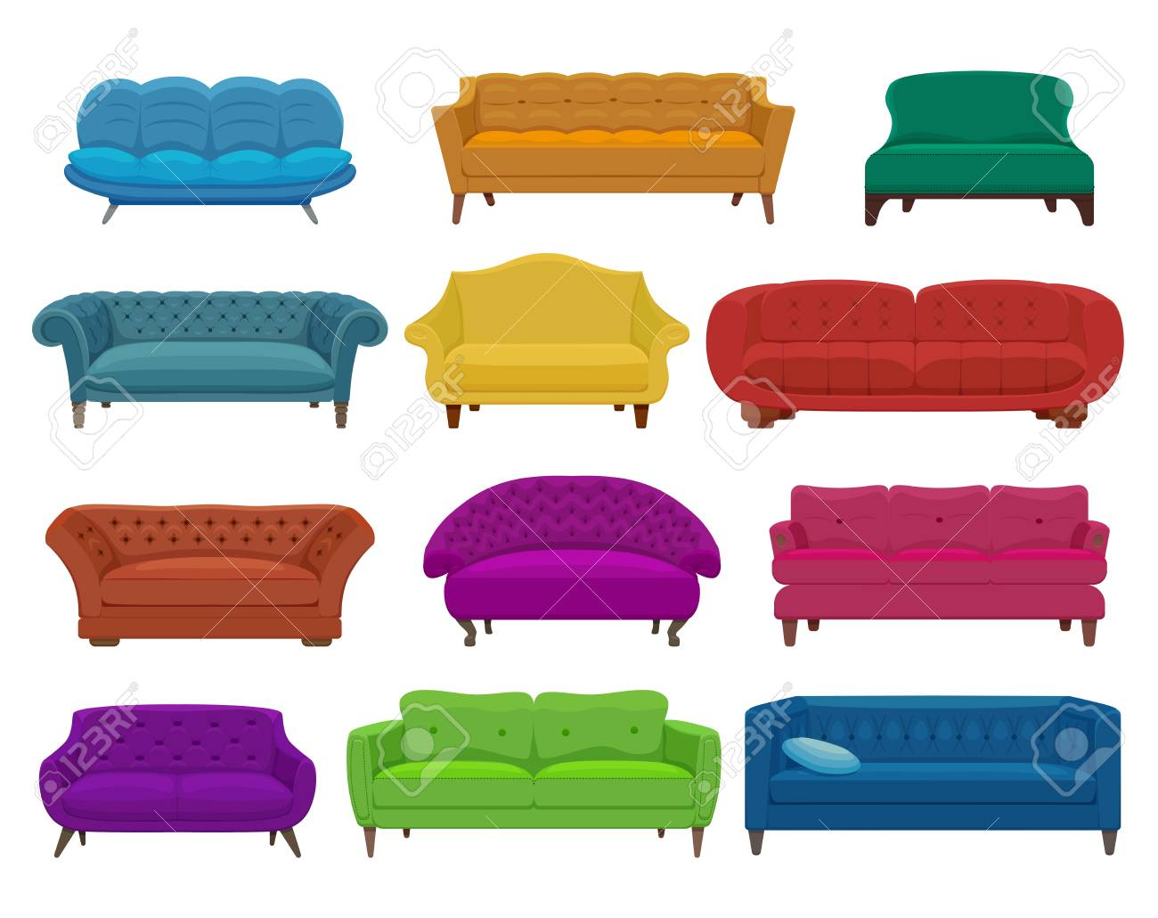 Sofa And Couches Colorful Cartoon Illustration Royalty Free Cliparts