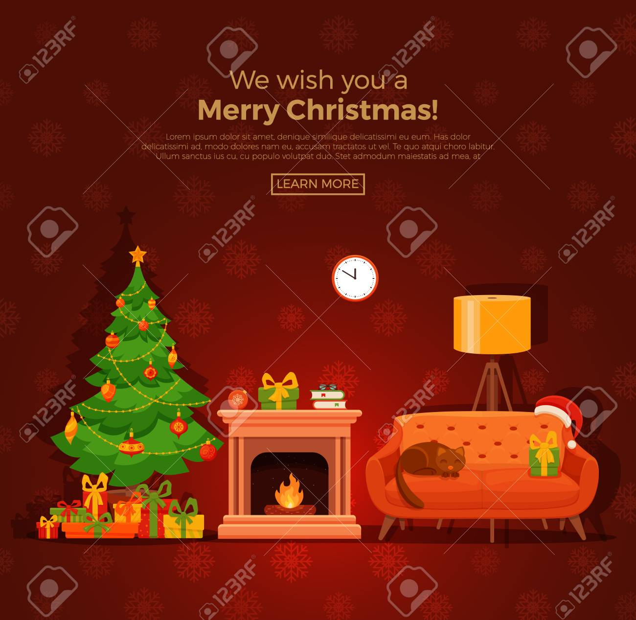 Christmas Fire Place.Christmas Fireplace Room Interior In Colorful Cartoon Flat Style