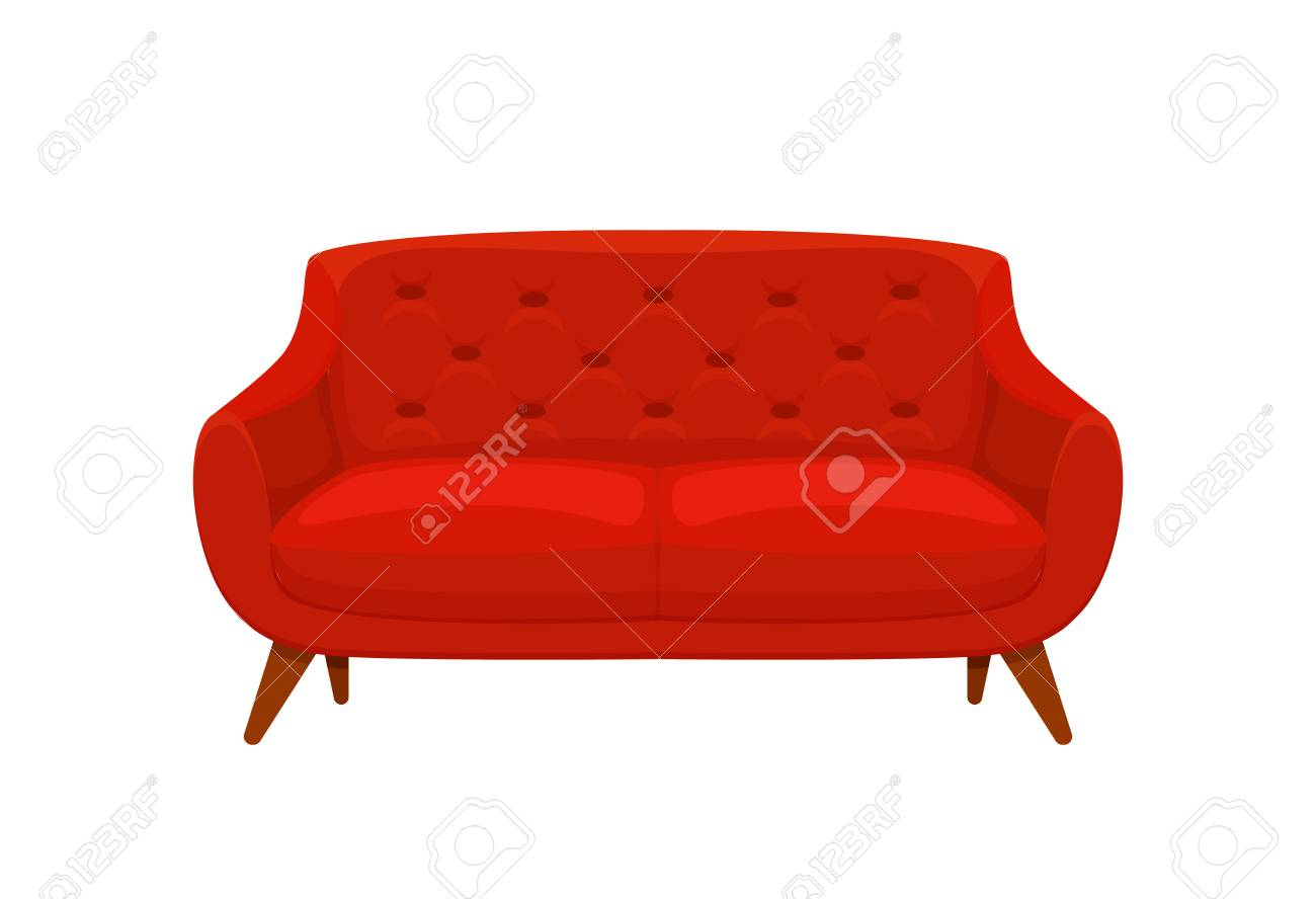 Sofa And Couch Red Colorful Cartoon Illustration Vector Comfortable