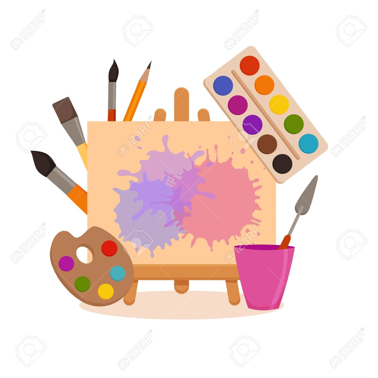 Painting Tools Elements Cartoon Colorful Vector Concept Art Royalty Free Cliparts Vectors And Stock Illustration Image 110024006