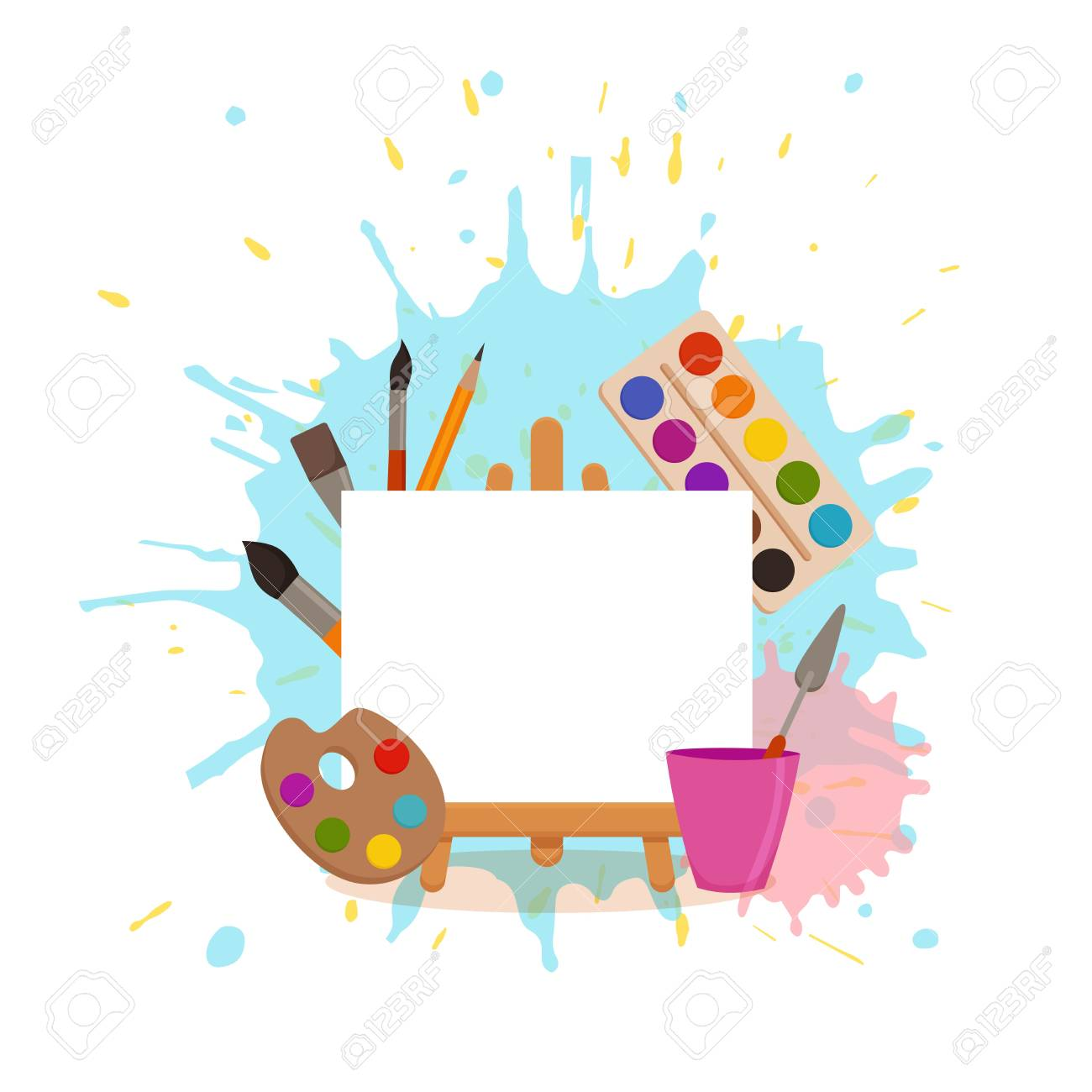 Painting tools elements cartoon colorful vector concept. Art..