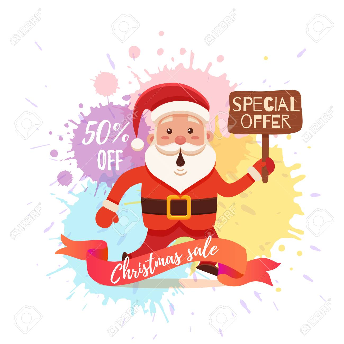 cartoon santa claus for your christmas and new year greeting design animation sale
