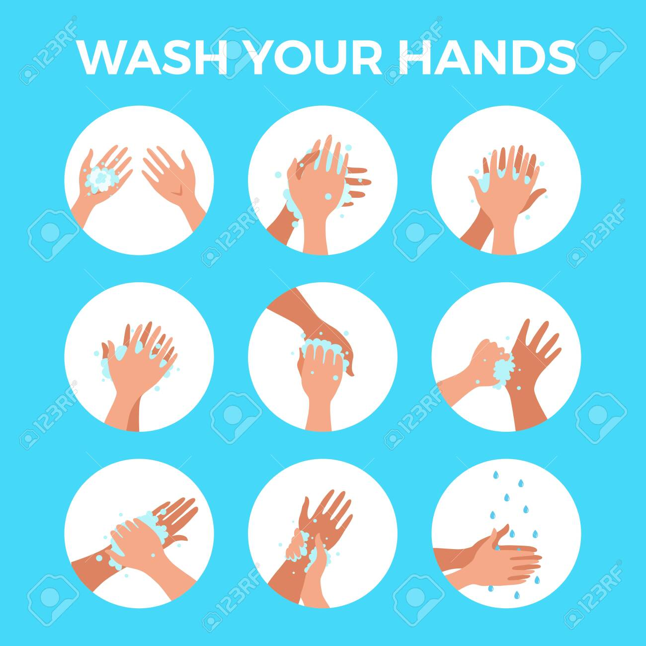 Washing hands with soap and water properly cartoon vector illustration. Flat medical care hygiene personal skin cleaning procedure colorful concept. Virus prevention protection steps design template - 142949124