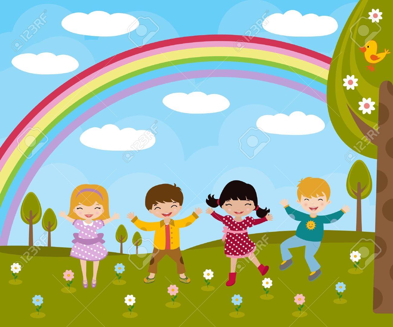 Kids in spring Stock Vector - 10045917