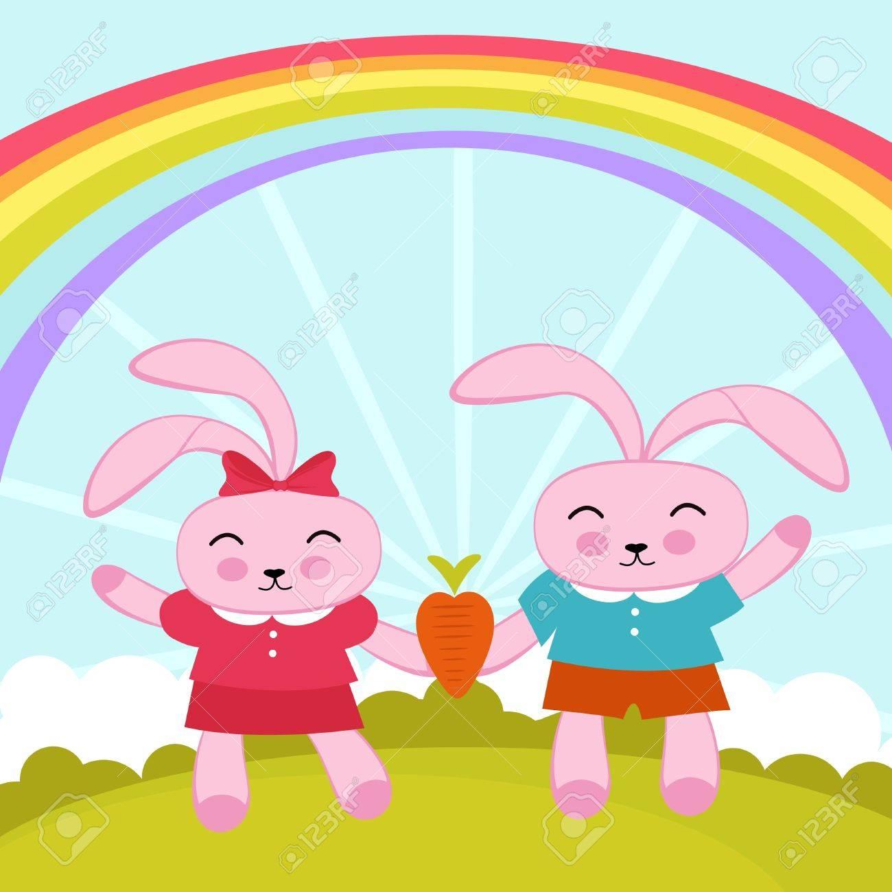 Rabbits in love Stock Vector - 12884305