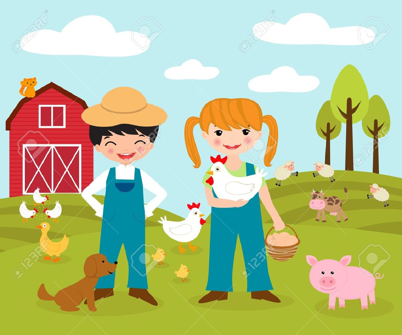 Happy little farmers Stock Vector - 13186479