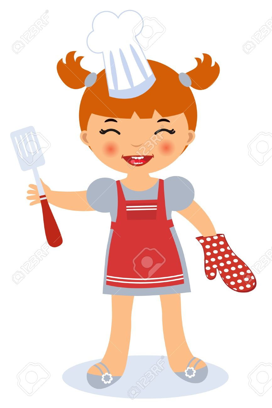 Little girl cooking Stock Vector - 14062517