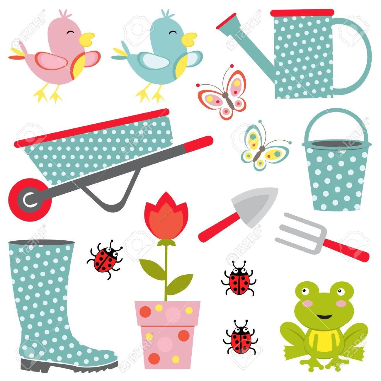 Cute gardening collection Stock Vector - 14396123